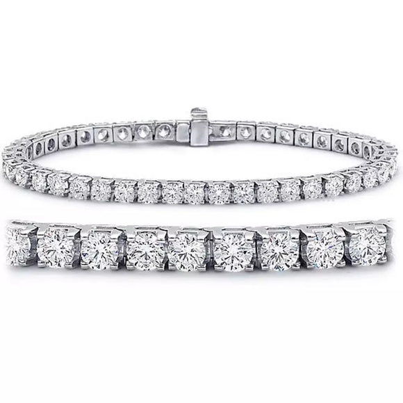 3.12Tcw SI2 14Kt Solid White Gold Tennis Bracelet