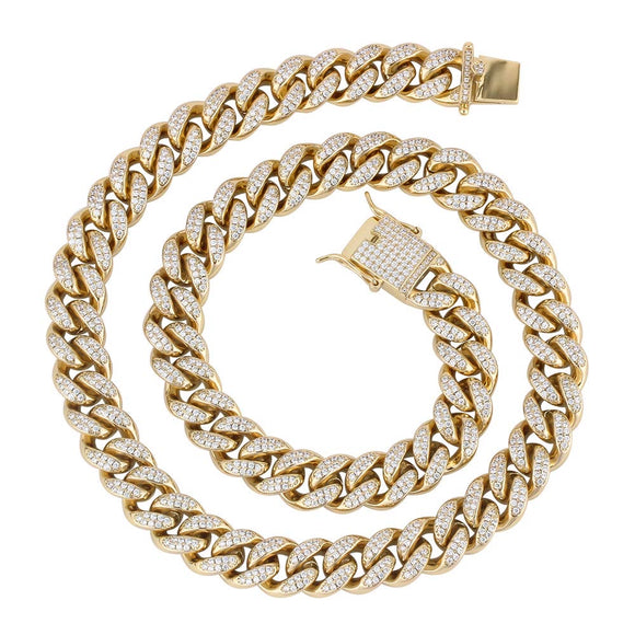 10.00Ct 8mm Diamond Solid Gold Cuban Link Chain