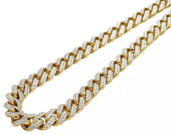 12mm 5.30ct Diamond Miami Cuban Link Chain in 14k Solid Yellow Gold
