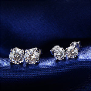 18K Solid White Gold (AU750) 0.4 CT Certified SI Round Diamond Earring