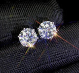 VVS Moissanite Diamond 6.5mm 2ct Earrings with Certificate (925 Silver and White Gold)