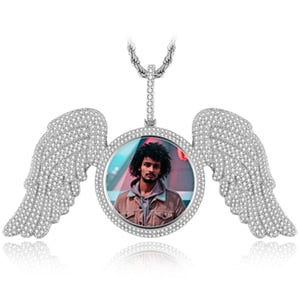 Angel Wings Memorial Custom Picture Pendant Necklace