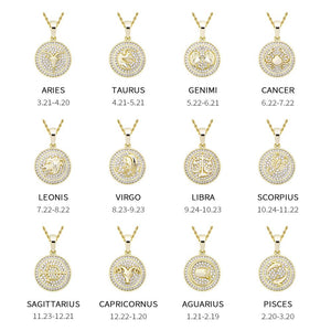 Zodiac Signs Iced Pendant Necklace