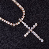 Iced Cross Diamond Tennis Necklace
