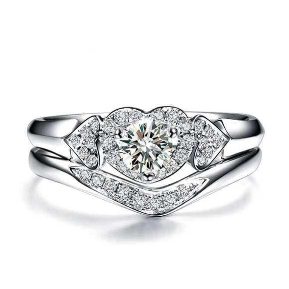 18K White Gold (AU750) 0.35 CT Certified I/SI Round Cut Diamond Heart Engagement Ring