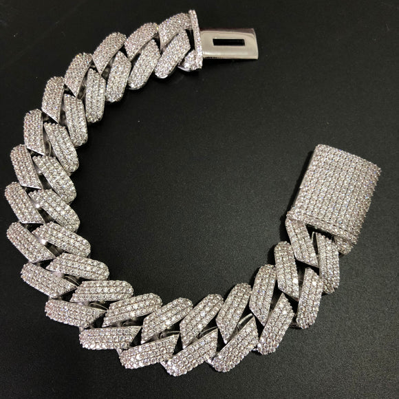 19mm Diamond Prong Cuban Link Bracelet