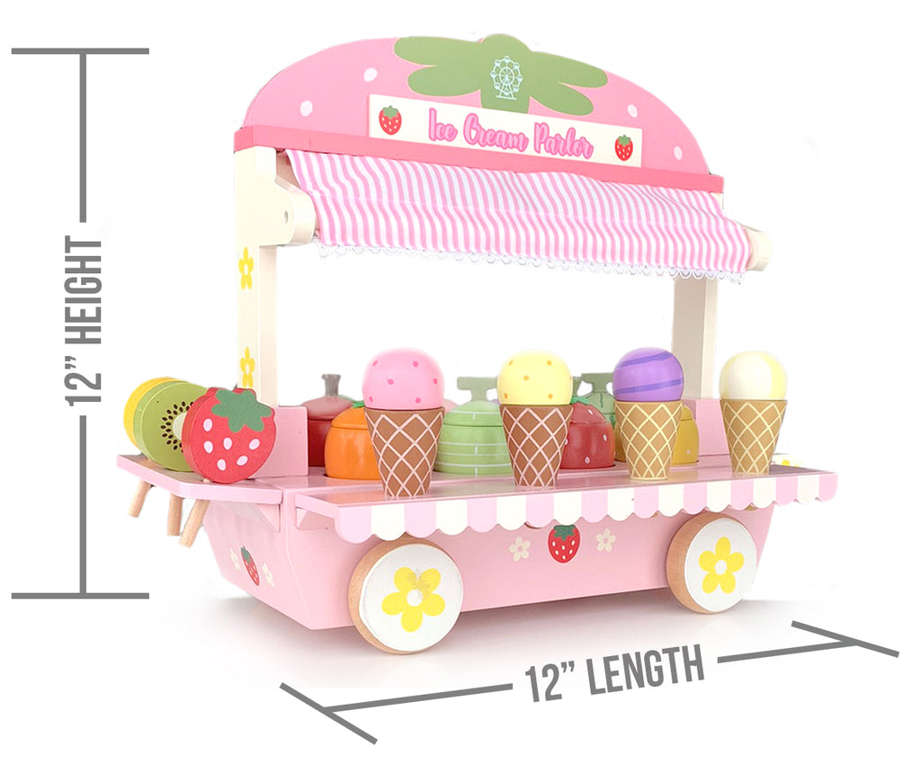 ICE Cream Parlor Playset with Accessories; ice Cream Cones, ice Cream Scooper, Fruit, and Others