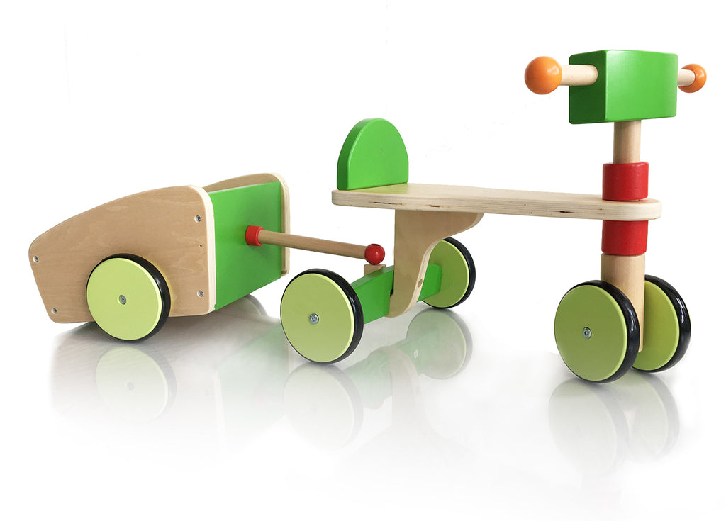 WOODEN SCOOTER - with Trailer