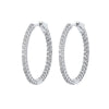 Diamond Inside Out Round 14k White Gold Hoop Earrings (1 Ctw)