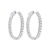 Diamond Inside Out Round 14k White Gold Hoop Earrings (3 Ctw)