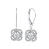 Diamond Infinity Love Heart Knot Dangle Earrings In 14k White Gold (1/4ctw)