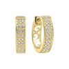 Diamond Double Row Hoop Earrings In 14k Yellow Gold (1/4ctw)
