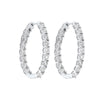 Diamond Starburst Inside Out Oval Hoop Earrings In 14k White Gold 2 Ctw)