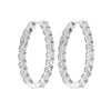 Diamond Inside Out Starburst Chunky Oval Hoop Earrings In 14k White Gold (1 Ctw)