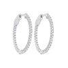Delicate In-Out Diamond Hoop Earrings in 14K White Gold  (1 ct. tw.)