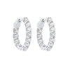 14K White Gold Prong Diamond Hoop Earrings 4CT