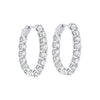 14K White Gold Prong Diamond Hoop Earrings 7CT