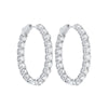14K White Gold Prong Diamond Hoop Earrings 1(1 ct. tw.)