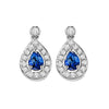 14K White Gold  Halo Prong Sapphire Earrings 1/6CT