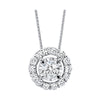 Diamond Halo Solitaire Starburst Pendant Necklace In 14k White Gold (1/4ctw)