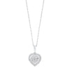 Diamond Halo Heart Cluster Pendant Necklace In Sterling Silver (1/5 Ctw)