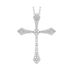 14K White Gold Cross Shared Prong Diamond Necklace 1/3CT