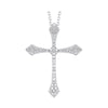 Diamond Celtic Cross Pendant Necklace In 14k White Gold (1/7 Ctw)