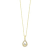 Diamond Teardrop Halo Dangle Pendant Necklace In 14k Yellow Gold (0.08ctw)