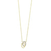 Diamond Double Oval Eternity Pendant Necklace In 14k Yellow Gold (0.08ctw)