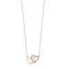 Diamond Double Heart Pendant Necklace In 14k Yellow Gold (0.08ctw)
