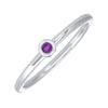 10K White Gold Stackable Bezel Amethyst Band