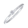 10K White Gold Stackable Bezel White Topaz Band