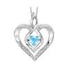Synthetic Blue Topaz Heart Infinity Symbol ROL Rhythm Of Love Pendant In Sterling Silver