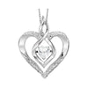 Synthetic White Topaz Heart Infinity Symbol ROL Rhythm Of Love Pendant In Sterling Silver
