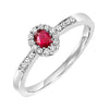14K White Gold Halo Prong Ruby Ring 1/6CT