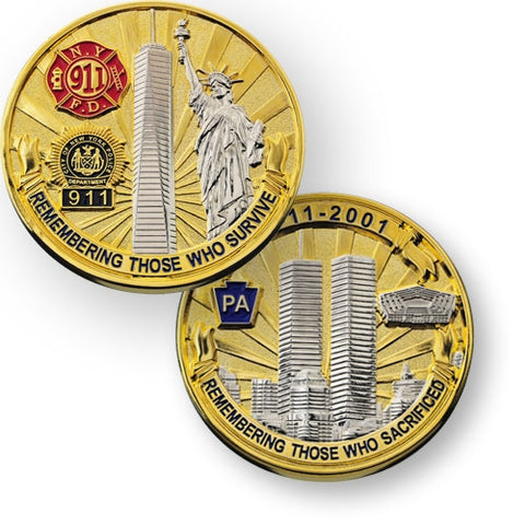 9-11 Commemorative Geocoin - polished gold