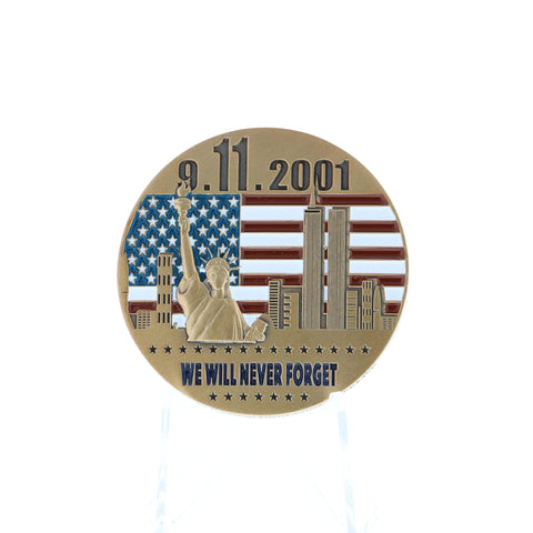 Never Forget Geocoin - 9-11 - Gold