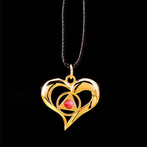 AA Flowing Heart Pendant - Red