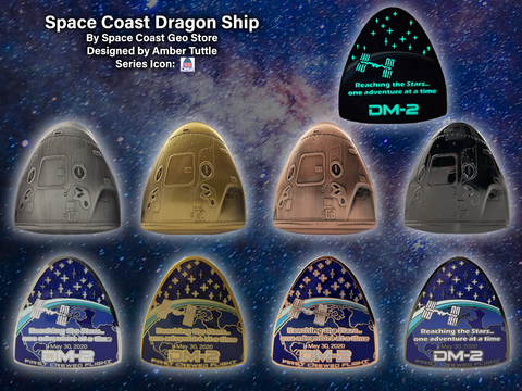 Space Coast Dragon Ship Geocoin - Complete set