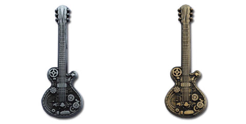 Steampunk Guitar Geocoin - Antique Gold