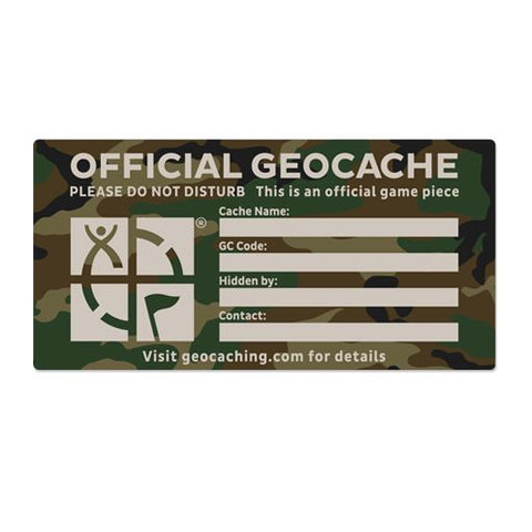 Geocache Label - Green Camo