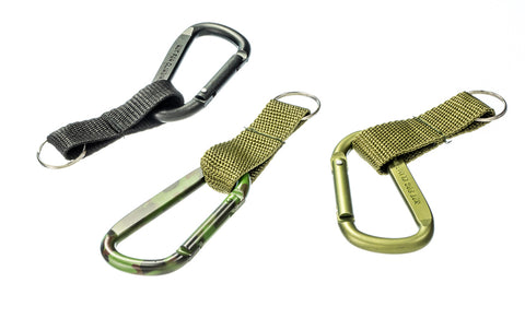 Aluminum Carabiner with Splitring and Strap - Green