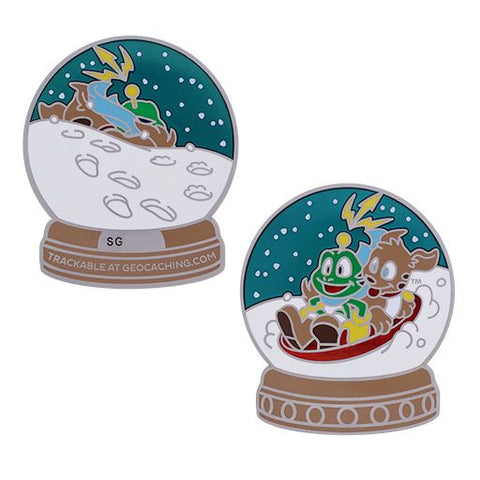 Signal the Frog® Snow Globe Geocoin - Silver