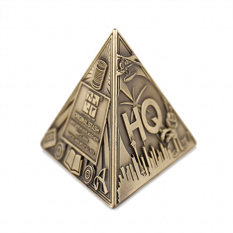 3D Trifecta Geocoin- Antique Bronze