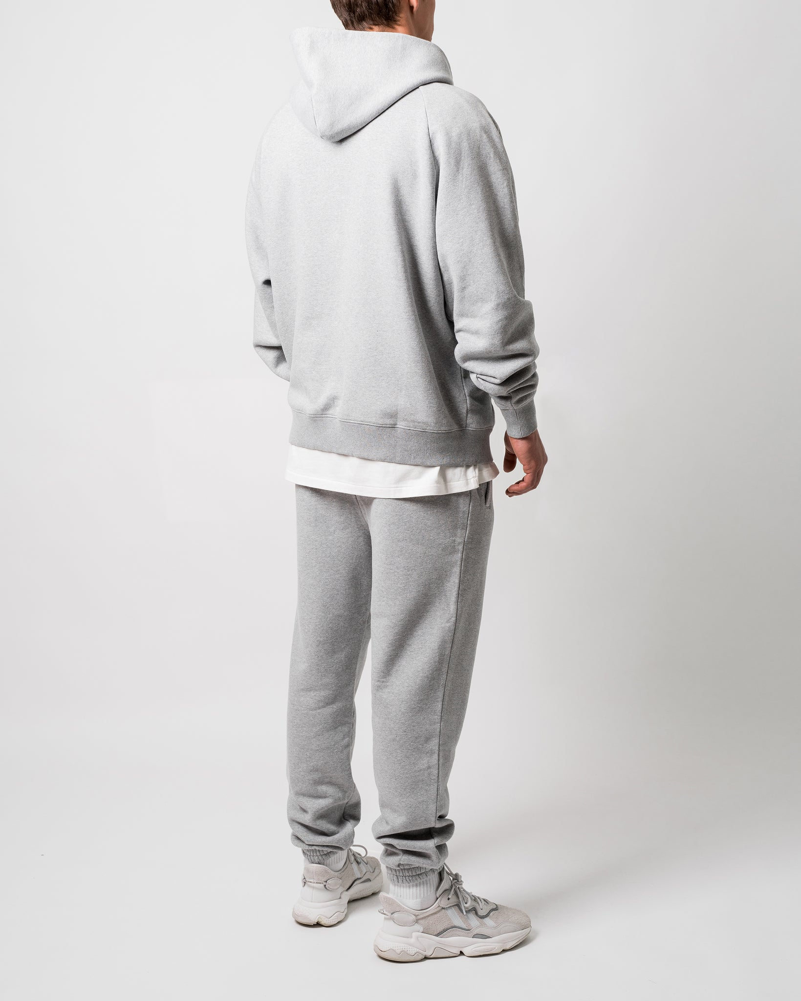 MONO RAGLAN EMBROIDERED HOODY - GREY MARLE