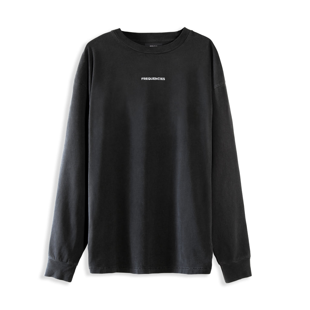 EMBROIDERED LONG SLEEVE TEE - STATIC BLACK