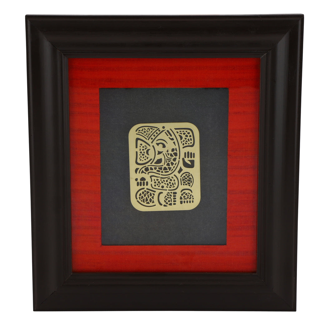 Adoraa's Ganesha Ganpati framed brass metal wall art décor