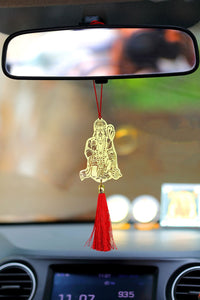 ADORAA's Jai Hanuman Bajrangbali Hanging Accessories for Car rear view mirror Decor in Brass