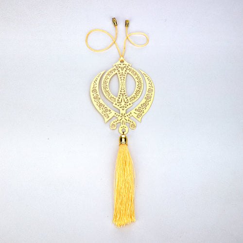 ADORAA's Khanda Punjabi Sikh Hanging Accessories for Car rear view mirror Decor in Brass