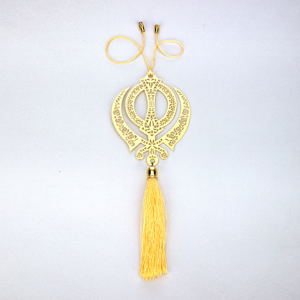 ADORAA Sikh Punjabi Ik Onkar Symbol Rear View Mirror Car Hanging Ornament//Perfect Car Charm Pendant//Amulet Accessories for Car Decor in Brass for Divine Blessings /& Safety//Protection